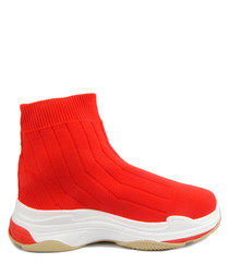 Flame red high-top sock sneakers