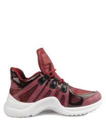 Bordeaux oversize tongue sneakers