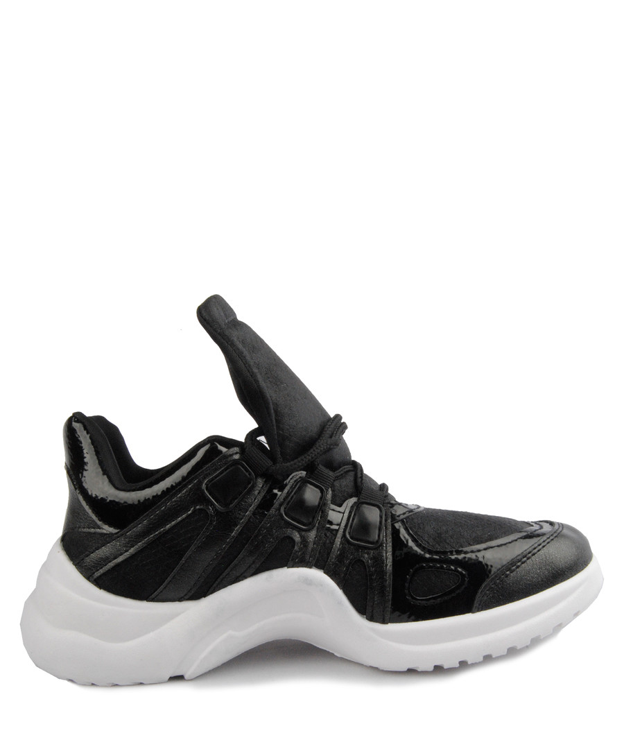 Black oversize tongue sneakers Sale - BROSSHOES