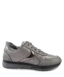 Grey swipe lace-up sneakers