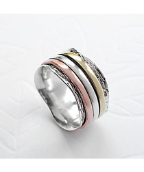Sterling silver tri-tone stripe ring