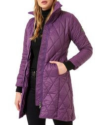 Damson quilted puffer coat