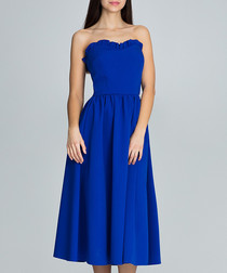 Blue strapless sweetheart midi dress