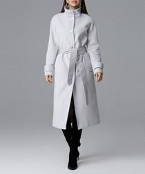 Grey high-neck tie waist coat