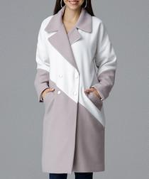 Beige & white contrast coat