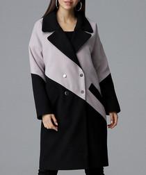 Beige & black contrast coat