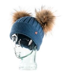 Blue cashmere blend bobble hat
