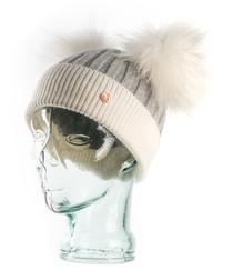 Grey & white cashmere blend bobble hat