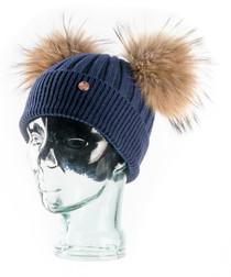 Navy cashmere blend bobble hat