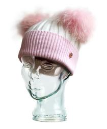 Pink & white cashmere blend bobble hat