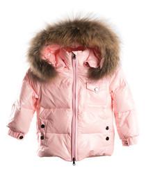 Pink down filled fur puffer coat