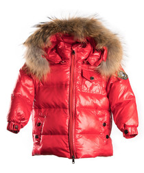 Red down filled fur puffer coat