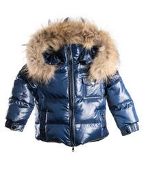 Navy down filled fur puffer coat