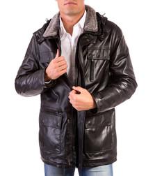 Brown suede lambskin pocket coat