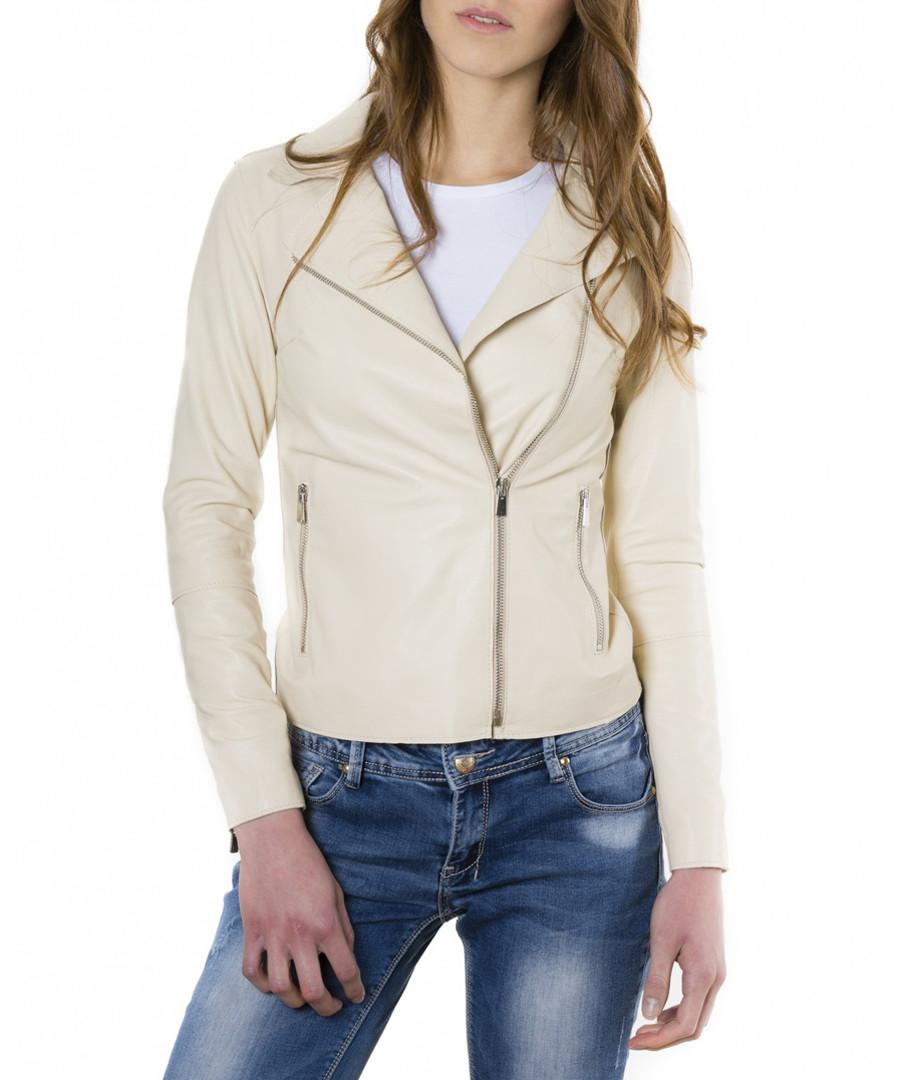 Beige leather biker jacket Sale - ad milano