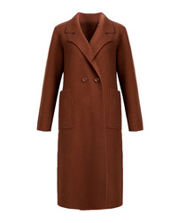 Caramel pure wool double breasted coat