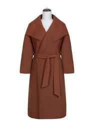 Caramel wrap waist-tie coat
