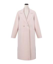 Pale pink double-breast lapel coat