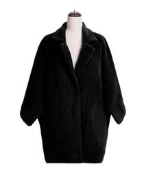 Black fleece lapel coat