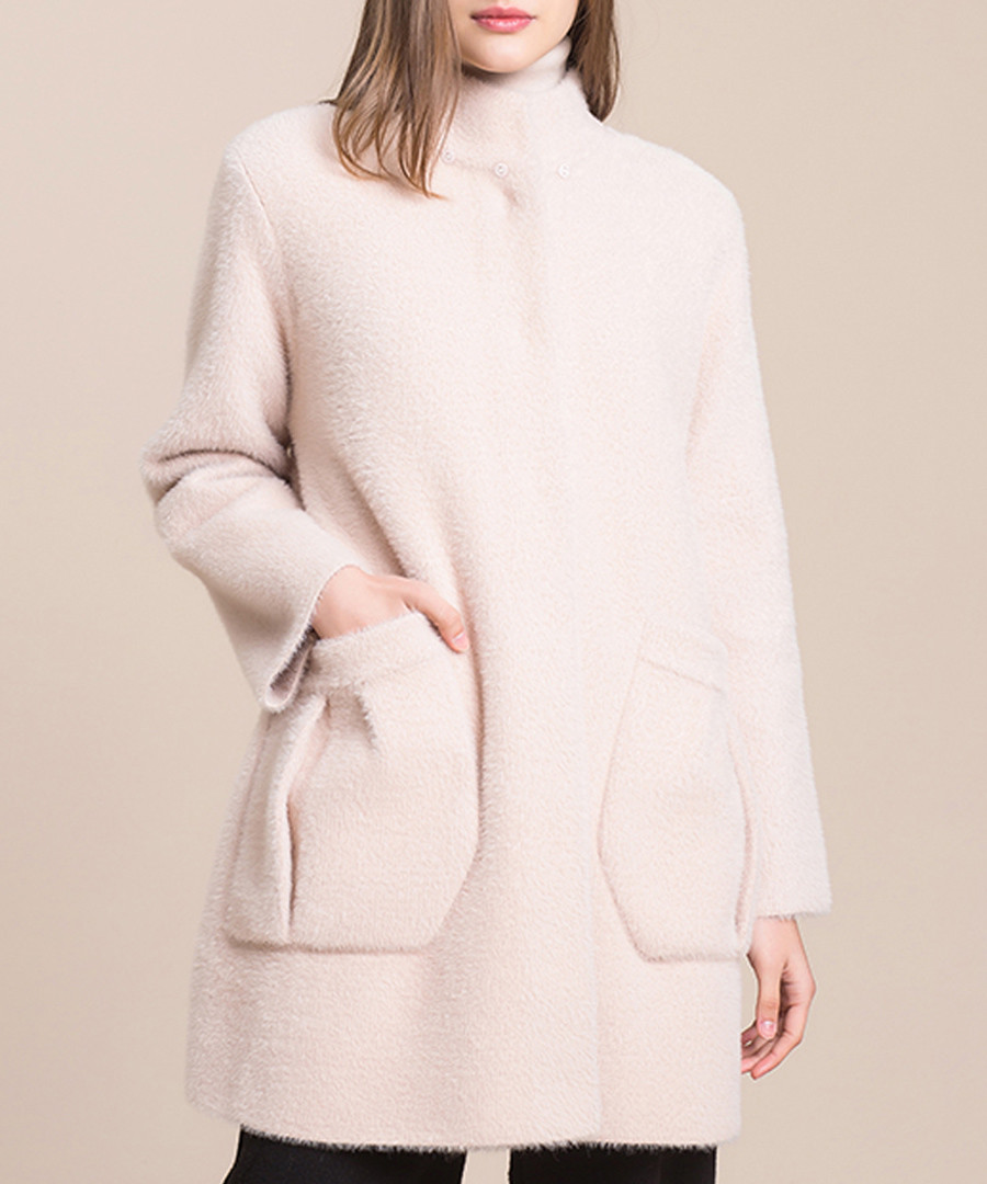 Pale pink high-neck coat Sale - Keshi Mier