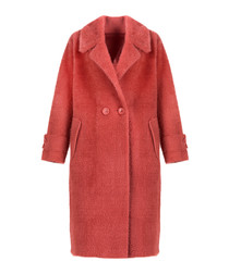 Red double breast knee-length coat
