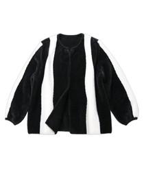 Black & white fleece stripe zip coat