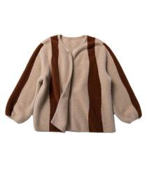 Brown & beige fleece stripe zip coat