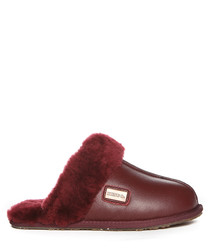 Wine nappa shearling slippers