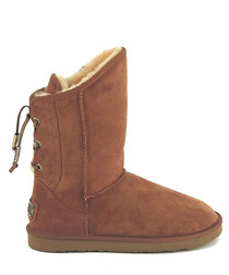 Dita chestnut shearling boots