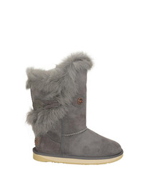 Heather grey shearling boots