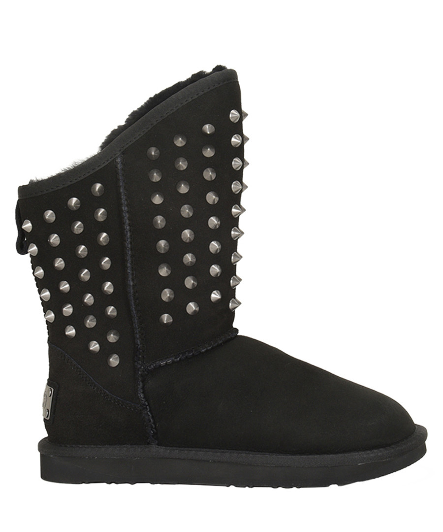 Pistol black shearling studded boots Sale - Australia luxe
