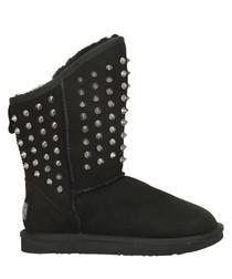 Pistol black shearling studded boots