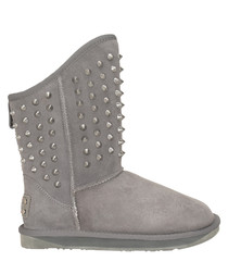 Pistol grey shearling studded boots