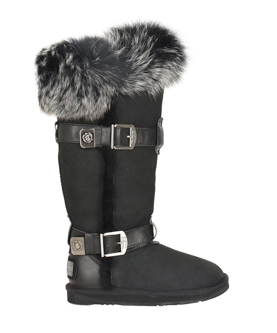 Tsar black shearling tall boots Sale - Australia luxe