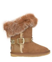 Tsar chestnut shearling boots