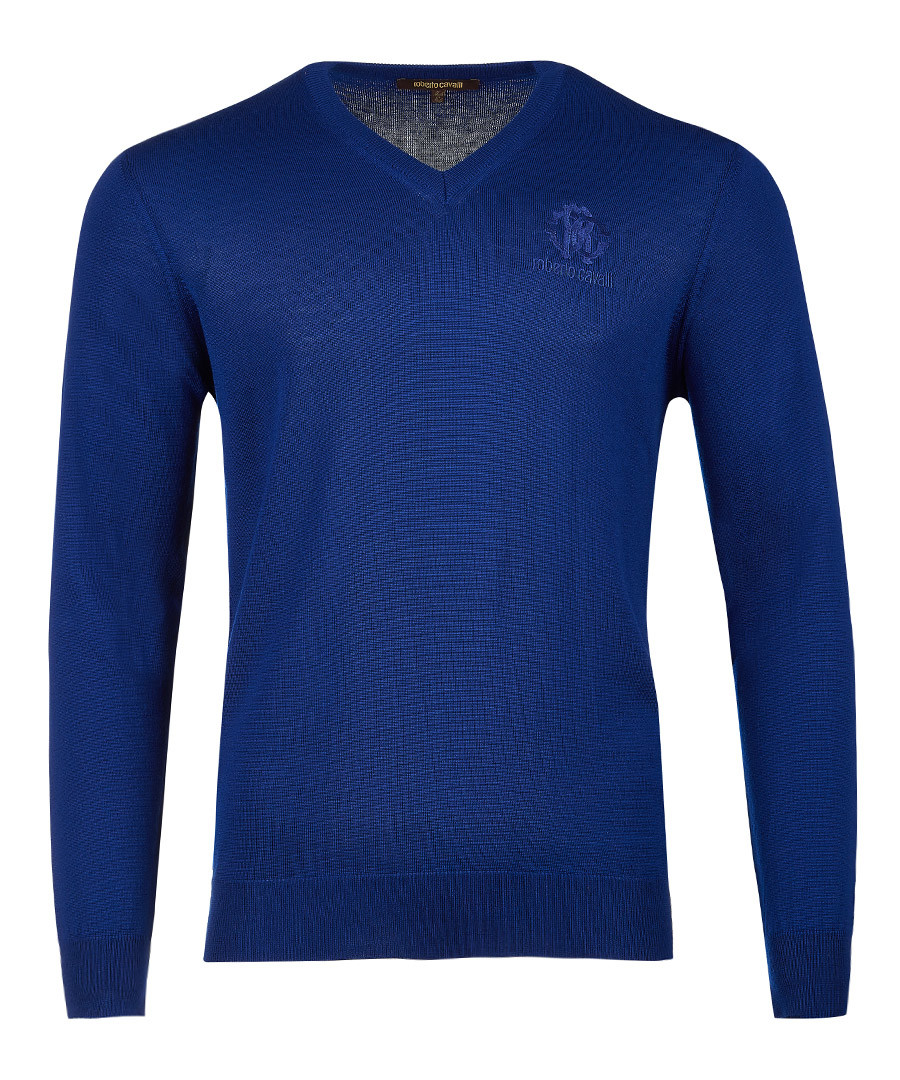 Royal blue pure wool v-neck logo jumper Sale - roberto cavalli