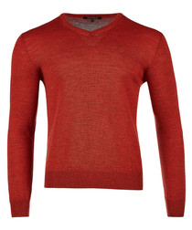 Orange pure wool v-neck logo jumper