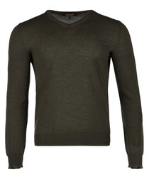 Green pure wool v-neck jumper