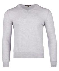 Light grey pure wool v-neck jumper