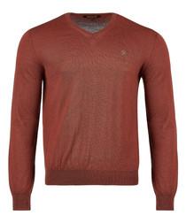 Light brown pure wool v-neck logo jumper