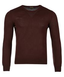 Brown pure wool crew neck logo jumper