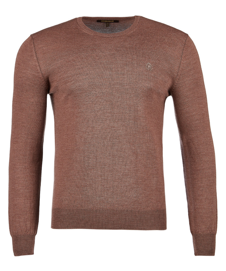 Light brown pure wool crew neck jumper Sale - roberto cavalli