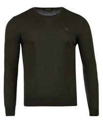Green pure wool crew neck jumper