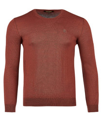 Light brown pure wool crew neck jumper