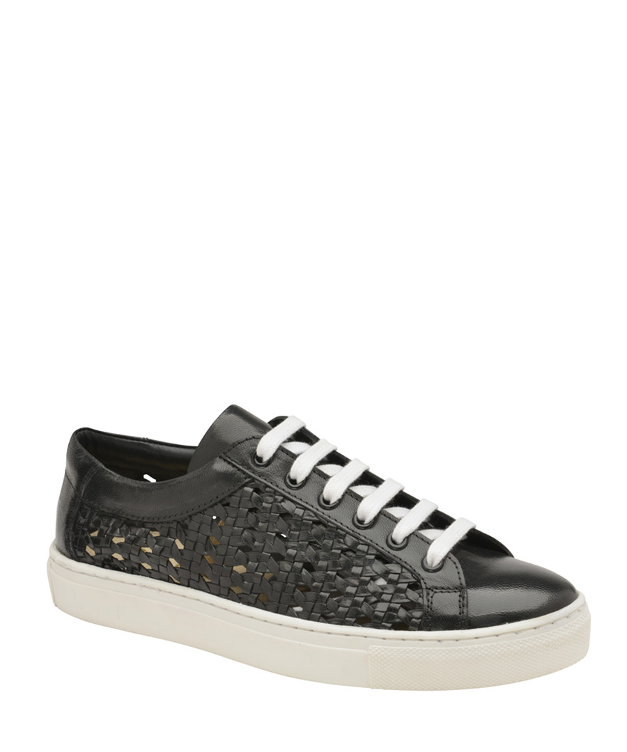 Black leather weave sneakers Sale - ravel