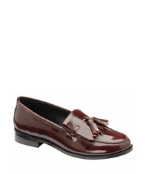 Oxblood patent leather tassel loafers