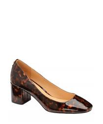Tortoiseshell patent block heels