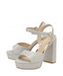 Silver strap block high heels Sale - ravel Sale