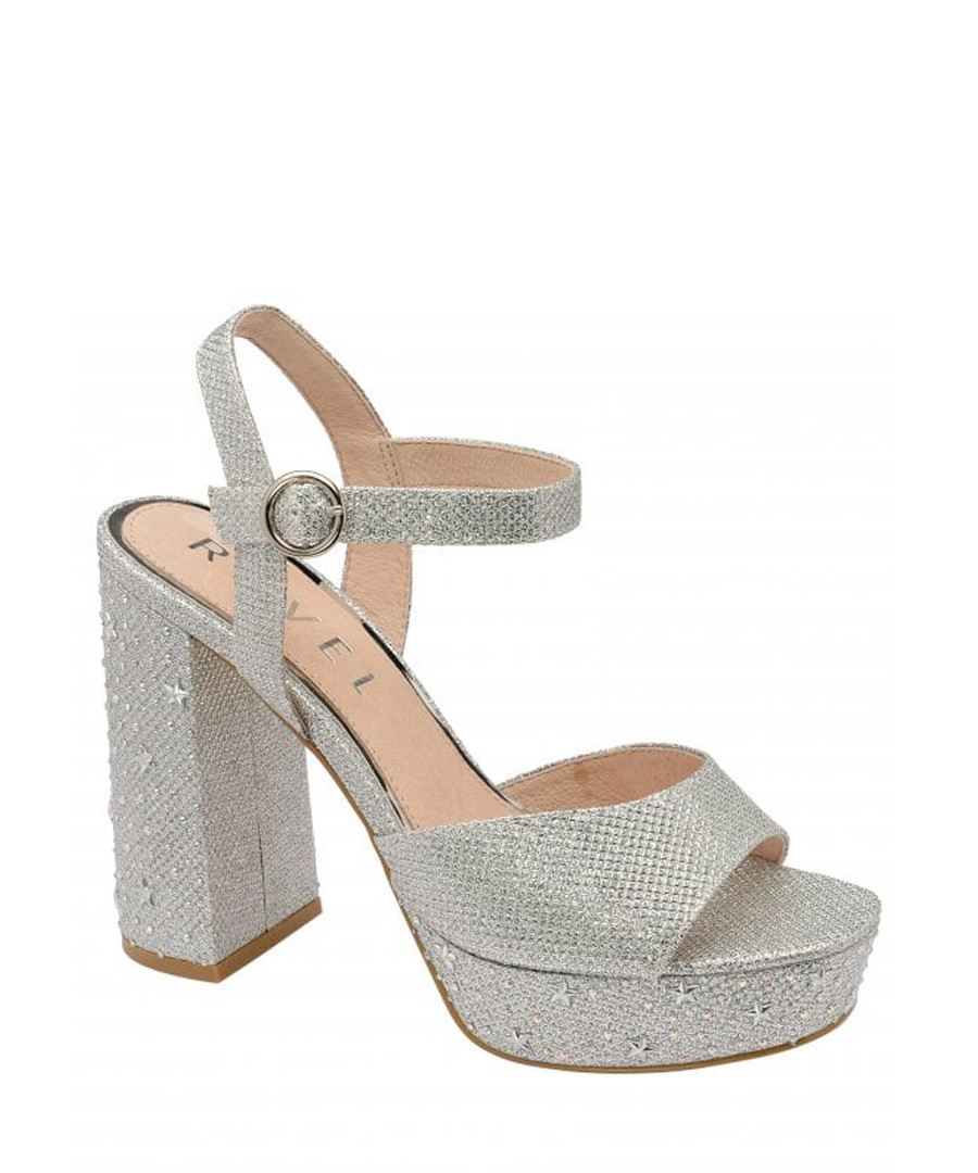 Silver strap block high heels Sale - ravel
