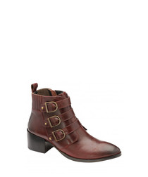 Burdundy leather strap boots